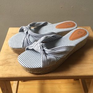 2/$15 H&M Striped Platform Espadrille Sandals NWOT